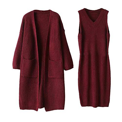 Womens Dresses Liraly Fashion Winter Long Sleeve Knit Solid Sweater Dress+Coat 2-Piece Set(Red) by Liraly