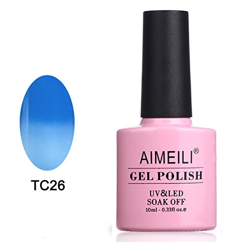 AIMEILI Soak Off UV LED Temperature Color Changing Chameleon Gel Nail Polish - Moody Blues (TC26) 10ml