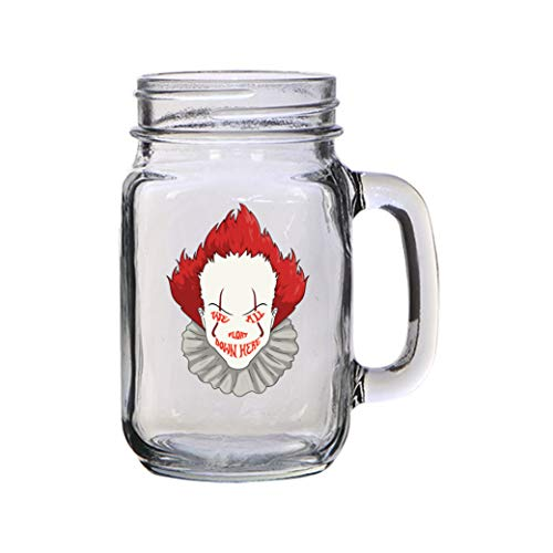 We All Float Down Here Horror Movie Clown - 16 oz Mason Jar Glass Mug for Beer Tea Wedding, Engagement Anniversary Bridal Party for Newlyweds