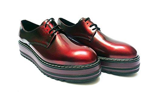 Antica Cuoieria scarpe casual da donna in pelle abrasivata col. Bordò, num. 36