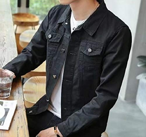 Mens Button Denim Jacket Coat RkBaoye Black Turn Collar Colored Down Solid xqnwxaIp6d