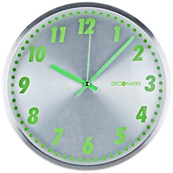 DecoMates Non-Ticking Silent Wall Clock, Aluminum Green