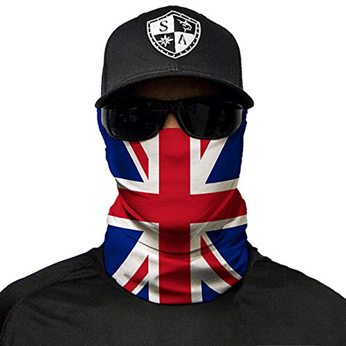 (SA Company Face Shield Micro Fiber Protect from Wind, Dirt and Bugs. Worn as a Balaclava, Neck Gaiter & Head Band for Hunting, Fishing, Boating, Cycling, Paintball and Salt Lovers. - Union Jack)
