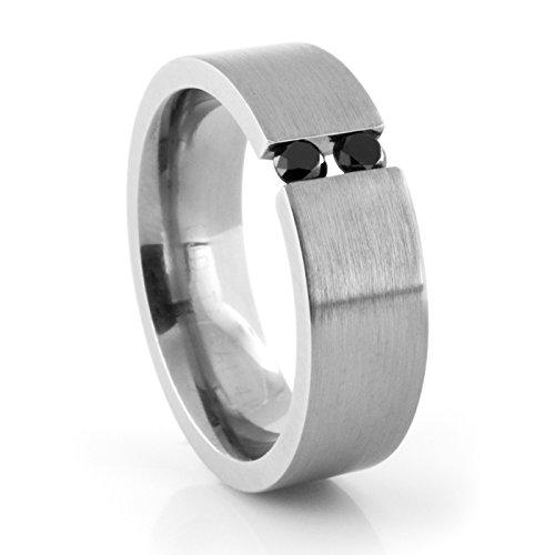 Black Titanium Tension Set Rings (Titanium Tension Set Ring with Black Diamonds - 9.5)