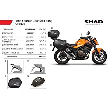 SHAD - KIT-SHAD-4/214 : Maletas laterales, baul, soportes, bolsas kit full HONDA CBR 500R: 2013-2016 -: Amazon.es: Coche y moto