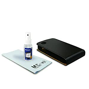 Funda de cuero - Flipcase + ROGGE® Touchi - All Natural Displaycleaner - 50ml - para LG Optimus L40 - negro | black | Paño de limpieza de microfibra