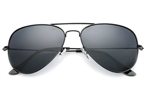- YuFalling Polarized Aviator Sunglasses for Men and Women (black frame/smoke lens, 58)