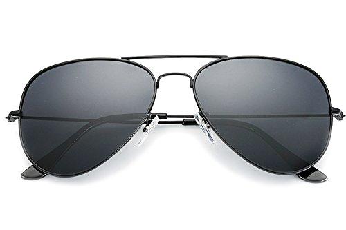 YuFalling Polarized Aviator Sunglasses for Men and Women (black frame/smoke lens, 58) (Aviator Sunglasses For Men Online)