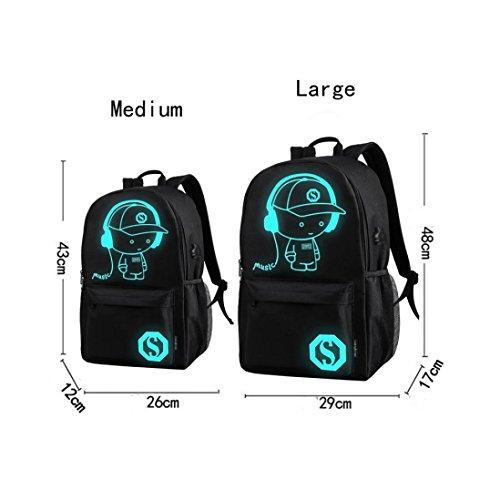 Rucksack, FEITONG USB Kabel External Lade Laptop Noctilucent Cartoon Schule Taschen Student Rucksack