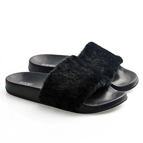 Womens Slide Slipper (FITORY Women Slippers,Faux Fur Slide Slip On Flats Sandals With Arch Support Open Toe Soft Girls Indoor Outdoor Shoes 7-8 B(M) US, Black)
