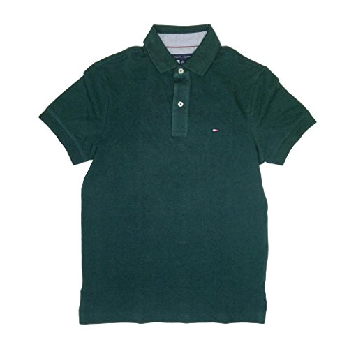 Tommy Hilfiger Mens Custom Fit Solid Color Polo Shirt (M, Dark Forest Green)