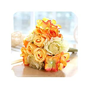 Artificial Flowers Rose Bouquet for Wedding Home Party Decoration Fake Flower Silk Rose Autumn Decoration Fall Flower,12 Heads 27