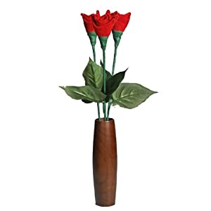 3rd Third Wedding Anniversary gift Leather Roses 3-Stem Bouquet and Teak Vase 8