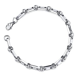 Peora Amazing Style: Mens Stainless Steel Rectangular Link Bracelet