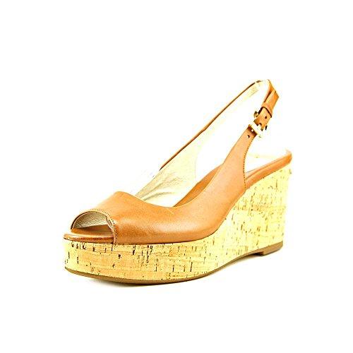 MICHAEL Michael Kors Natalia Sling Wedge Luggage Sandal (7.5)