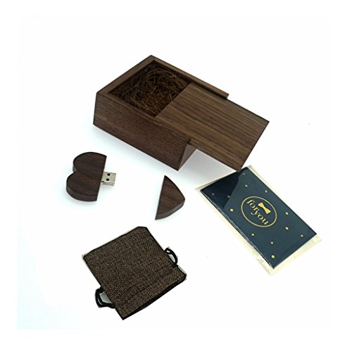 (LONMAX 16GB Walnut Wooden Heart Shape USB Flash Drive With Gift Box USB Memory Disk Pen Driver for gift (16GB, Walnut Heart+Small Walnut Box))