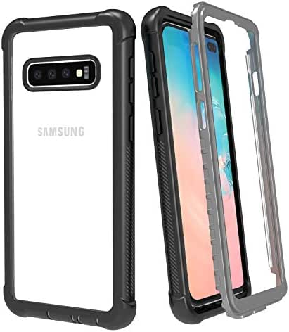 Samsung Galaxy S10 Plus Case, ATOP Rugged Heavy Duty Bumper Armor Cover Without Built-in Screen Protector Shock-Absorption Case for Samsung Galaxy S10+ Plus Case 6.4 Inch 2019 (Black/Clear)