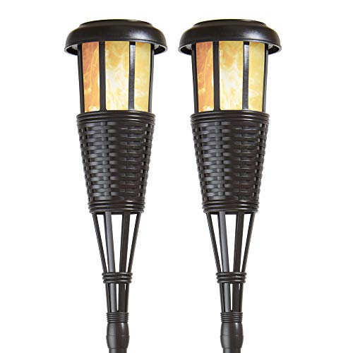 Newhouse Lighting FLTORCH2-B Solar-Powered Flickering Flame Outdoor Island Torches, 2-Pack, Black