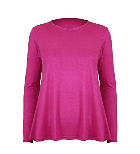 Damen Top Langärmlig mit Rundhals Einfarbigs Dehnbares Schwing T-Shirt - S/M (36/38), Kirschrot