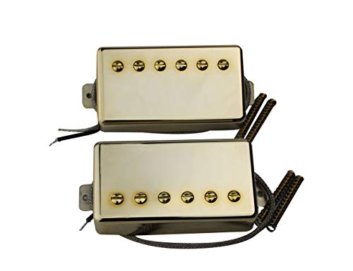 Guyker Guitar Humbucker Pickups Set - Classic Plus Neck and Bridge Double Closed Pickup Replacement Parts for 6 String SG Les Pauls LP Style Electric Guitar (CLP - Gold)