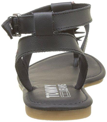 Femme Glitter Bleu Sandal Jeans Salomés Tommy 403 Badge Flat Midnight qFZO4Y