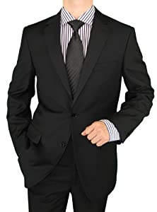 B008H81ACY Salvatore Exte Mens Suit Wool Feel 2 Button Jacket Flat Front Pants Pure Black (48 Regular)