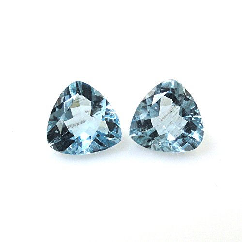 Santa Marina (Santa Maria Aquamarine Trillion Shape 7x7mm Matched Pair Approximately 2.00 Carat Beautiful Aqua Blue Color (12374))