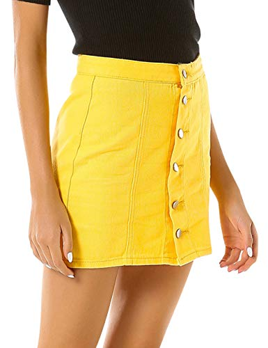 (SUNFURA Women's High Waist Denim Mini Skirt A-Line Short Jean Dress(Yellow,XL))