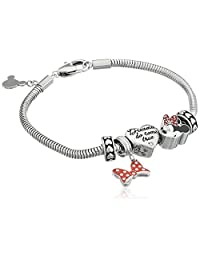 "Disney""Minnie Mouse"" Stainless Steel Bead Bundle Charm Bracelet, 7"""