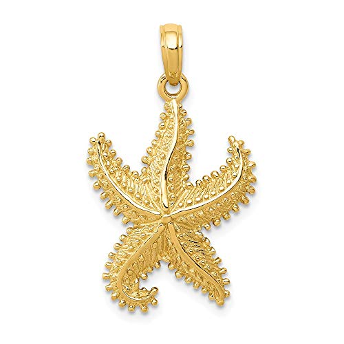 14k Yellow Gold Starfish Pendant Charm Necklace Sea Shore Shell Life Man Fish Fine Jewelry Gift For Dad Mens For Him ()