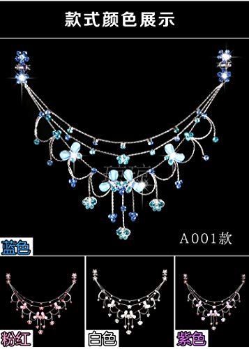 OLIJU Wholesale Children Hair Styling Accessories Crown Princess Chain Crystal Clip Jewelry for Girls Dance Forehead (Blue Butterfly Fantasy