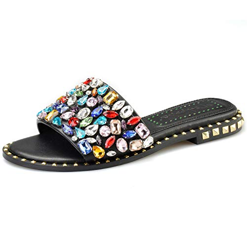 Pinkpalms Women Flipflops Multi Embellished Crystals Shoes Flat Sparkle Sandal Rivets Studs Slippers ()