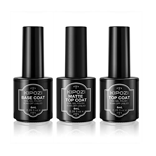 KIPOZI Nail Polish Top Coat Base Gel Coat Set , 3Pcs 8ml Long Lasting Protective Shine Soak Off LED Gel No Wipe Base Coat and Glossy & Matte Top Coat