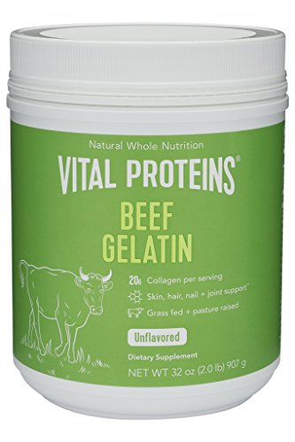 Vital Proteins Beef Gelatin : Pasture-Raised, Grass-Fed, Non-GMO (32 oz) - Clean, Tasteless, and dissolves & absorbs quickly - Paleo approved and sugar free