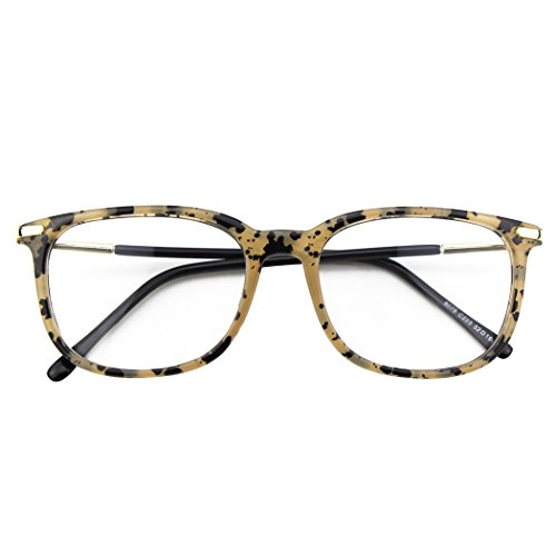 Happy Store CN79 High Fashion Metal Temple Horn Rimmed Clear Lens Eye Glasses,Spot