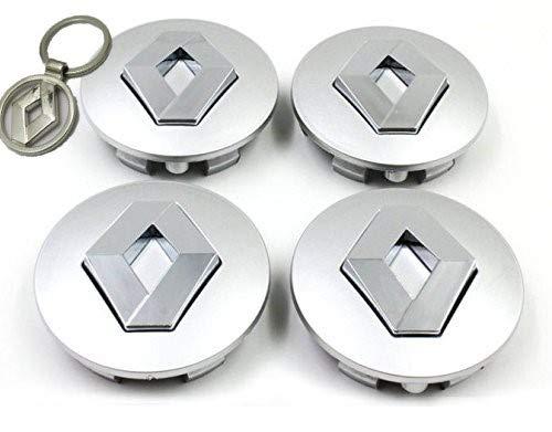 Set 4 Tappi Coprimozzo Renault 60mm con Portachiavi in Omaggio Clio Laguna Megane Scenic Twingo Cerchi Lega datex-bm