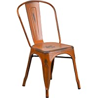 Industrial Style Antique Orange Metal Restaurant Chair For Indoor-Outdoor