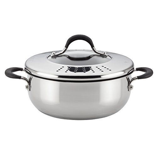 Circulon Momentum Stainless Steel Nonstick 4-Quart Covered Casserole with Locking Straining Lid 4 Qt Stainless Covered Casserole