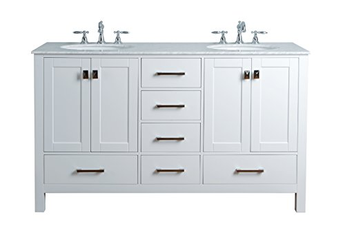 - Stufurhome GM-6412-60PW-CR 60-Inch Malibu Pure White Double Sink Bathroom Vanity