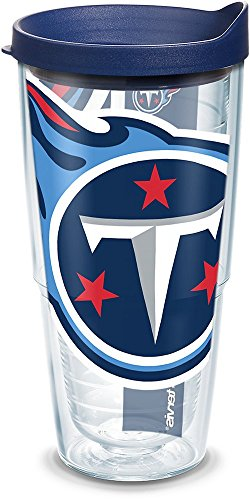 Tervis 1100084 NFL Tennessee Titans Colossal Tumbler with Wrap and Navy Lid 24oz, Clear
