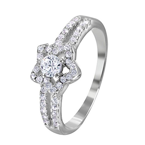 Clear Cubic Zirconia Encrusted Open Star Split Shank Ring Rhodium Plated Sterling Silver Size - Open Shank Ring