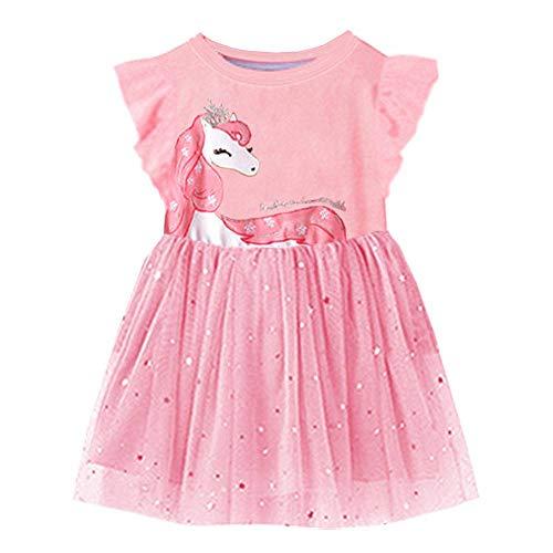 (VIKITA 2018 Toddler Girls Dresses Princess Pony w/Crown Short Sleeve Girl Dress for Kids 3-8 Years Sh4579M,)