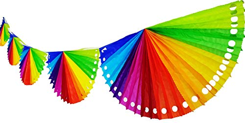 Yani's Gifts 3 Pack Rainbow Tissue Paper Fan Banners, Each Rainbow Banner has 6 Rainbow Fans and is Over 9.5 ft Long, Total Over 29 ft of Mexican Party Decorations Streamers Perfect for Cinco de Mayo -