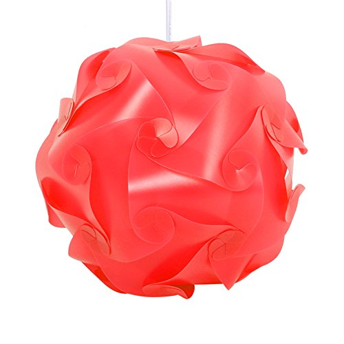 Feamos 30Pcs Jigsaw Puzzle Lamp Shade for Ceiling Pendant Decor Handcraft DIY 9.8 inch (Red)
