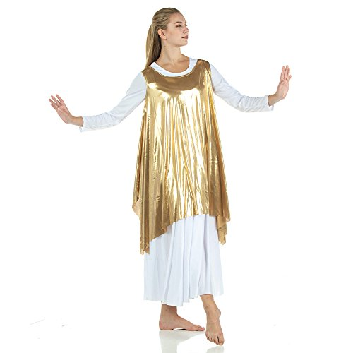 2215998d439d Danzcue Womens Celebration of Spirit Dance Drapey Tunic Tank Pullover,  Gold, L/XL