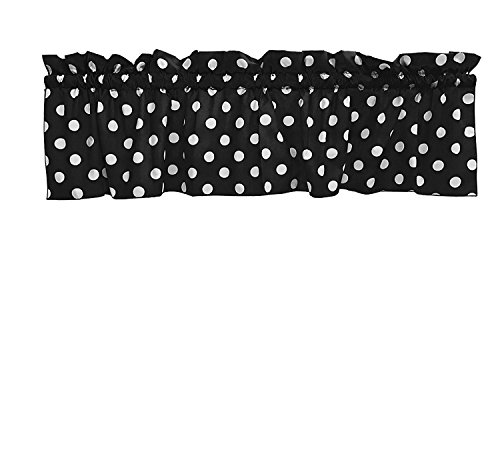 lovemyfabric Cotton White Polka Dots/Spots Design Kitchen Curtain Valance Window Treatment-Black
