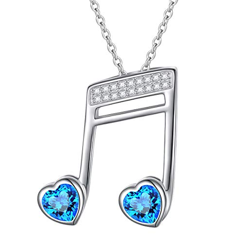 SILVER MOUNTAIN 925 Sterling Silver Musical Jewelry Double Semiquaver Sixteenth Note Pendant Blue Music Note Necklace Bday Gift for Women Girls Musician (Double Sixteenth ()