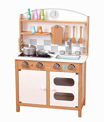 Amazon.com: YXS Kitchen Set – Vintage Wood Kids Play Kitchen ...
