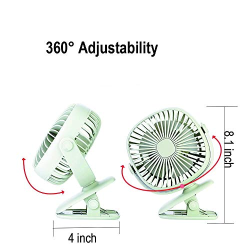 Battery Operated Clip on Stroller Fan with Light- Mini Portable Desk Fan with Rechargeable Battery Powered Fan for Baby Stroller, Outdoor Activities (Green) by GuanZo (Image #4)