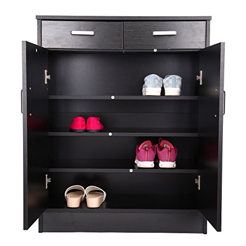 Ridgeyard Black 4 Shelf 2 Drawers 20 Pair Shoe Rack Organizer Cabinet Storage Entryway Stand Home Office by Ridgeyard